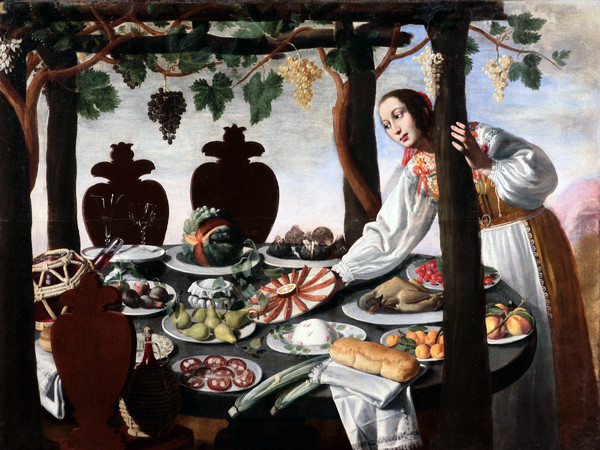 (Pittore fiorentino della metà del '600, Donna che imbandisce tavola. Collezione privata)